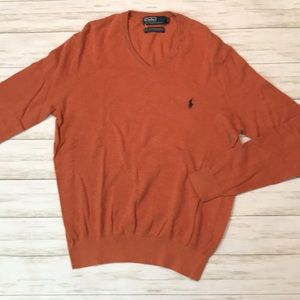 Polo by Ralph Lauren mens orange Cashmere sweater
